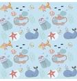 Fish nautical seamless pattern vector image