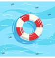 Classic Life Preserver Ring Buoy With Blue Sea vector image