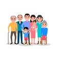 Cartoon happy family Big lovely family portrait vector image