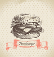Hamburger hand drawn background vector image vector image