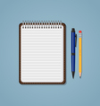 Notebook with pen and pencil vector