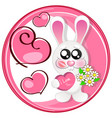 wedding card with cute cartoon rabbits in love vector image