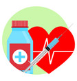 drugs for heart icon vector image