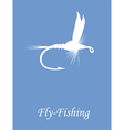 Fly-fishing on blue background vector image vector image
