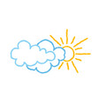 sun with clouds icon doodle line art weather sign vector image