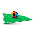 Colorful soccer ball on abstract empty football vector image