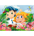 Kids amazed by the insects in the garden vector image vector image