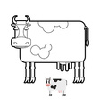 Cow coloring book of farm animals vector image