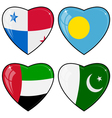 Set of images of hearts with the flags of Pakistan vector image vector image