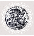 Water waves in the sea line drawing vector image