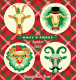 goat and sheep symbol of 2015 Hipster s vector image