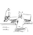 sketch of girl works using pen tablet hand drawn vector image