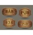 Wooden pub bar signs set vector image