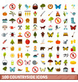 100 countryside icons set flat style vector image
