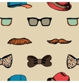 Bow tie glasses and mustache seamless pattern vector image vector image