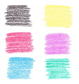 Set of wax crayon spots isolated on white vector image