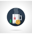 Christmas tea round flat color icon vector image