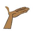cartoon hand man open palm vector image