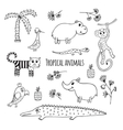 Set of black and white Tropical animals vector image
