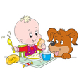 toddler and pup at dinner vector image