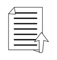 upward arrow with file or text document icon image vector image