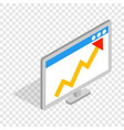 graph on the computer monitor isometric icon vector image