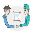 handshake of doctor and citizen icon vector image