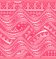 pink waves background ethnic seamless pattern vector image