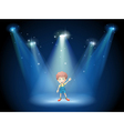 A boy waving his hand at the stage with spotlights vector image vector image