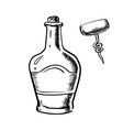 Sketch of whiskey with corkscrew vector image