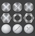 Screws nuts and bolts realistic icons set vector image