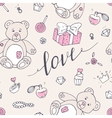 Valentine day seamless pattern with teddy bear vector image vector image