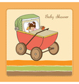 baby girl shower card with retro strolller vector image