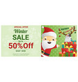 christmas winter sale banner with santa claus vector image