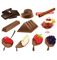 different styles of chocolate dessert vector image