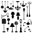 interior furniture icons ceiling lamp set indoor vector image