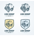 Lion logos badges emblems set vector image