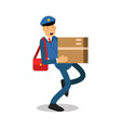 Postman in blue uniform with red bag carrying a vector image