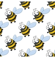 Seamless pattern of fat little honey bees vector image