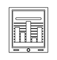 tablet with bar graph vector image