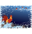 New Year background with cock and bullfinch vector image