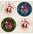 grunge labels set for paleo food restaurant vector image