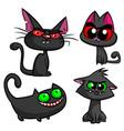 halloween black cats set vector image