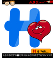 letter h with heart cartoon vector image