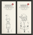 Merry Christmas unique hand drawn banner set vector image