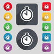 The stopwatch icon sign A set of 12 colored vector image