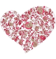 Valentine heart in floral style isolated on vector image