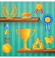 Award shelves background vector image