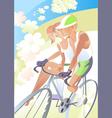 Cyclist girl vector image