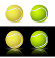 of the four tennis balls on white and black backgr vector image vector image